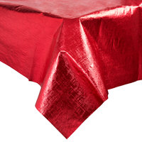 Creative Converting 38327 54 inch x 108 inch Red Metallic Plastic Table Cover