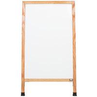 Aarco A-5SW 42 inch x 24 inch Solid Oak Wood A-Frame Sidewalk Board with White Porcelain Marker Board