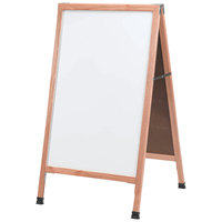 Aarco A-5SW 42 inch x 24 inch Solid Oak Wood A-Frame Sidewalk Board with White Porcelain Marker Board