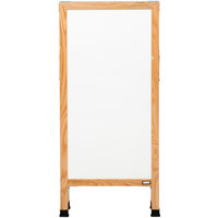 Aarco A-311SW 42 inch x 18 inch Solid Oak Wood Narrow A-Frame Sidewalk Board with White Porcelain Marker Board