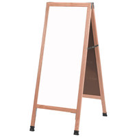 Aarco A-311SW 42 inch x 18 inch Solid Oak Wood Narrow A-Frame Sidewalk Board with White Porcelain Marker Board