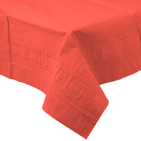 Creative Converting 713146B 54 inch x 108 inch Coral Orange Tissue / Poly Table Cover