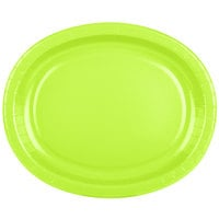 Creative Converting 433123 12 inch x 10 inch Fresh Lime Green Oval Paper Platter - 96/Case