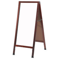 Aarco MA-311SW 42 inch x 18 inch Cherry Stained Solid Oak Wood Narrow A-Frame Sidewalk Board with White Porcelain Marker Board