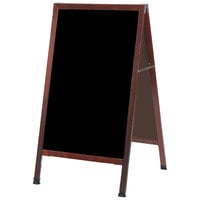 Aarco MA-5SB 42 inch x 24 inch Cherry Stained Solid Oak Wood A-Frame Sidewalk Board with Black Porcelain Marker Board