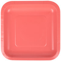 Creative Converting 453146 7 inch Coral Orange Square Paper Plate - 18/Pack