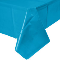 Creative Converting 723131 54 inch x 108 inch Turquoise Blue Plastic Table Cover