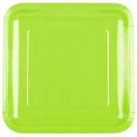 Creative Converting 463123 9 inch Fresh Lime Green Square Paper Plate - 18/Pack