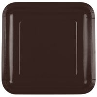 Creative Converting 463038 9 inch Chocolate Brown Square Paper Plate - 18/Pack