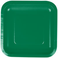 Creative Converting 453261 7 inch Emerald Green Square Paper Plate - 18/Pack