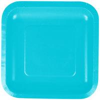 Creative Converting 453552 7 inch Bermuda Blue Square Paper Plate - 18/Pack
