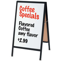Aarco 42 inch x 24 inch Black Aluminum A-Frame Sidewalk Board with White Porcelain Marker Board