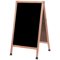 Aarco A-5SB 42 inch x 24 inch Solid Oak Wood A-Frame Sidewalk Board with Black Porcelain Marker Board