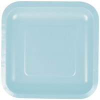 Creative Converting 453279 7 inch Pastel Blue Square Paper Plate - 18/Pack