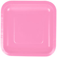 Creative Converting 453042 7 inch Candy Pink Square Paper Plate - 18/Pack