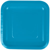 Creative Converting 453040 7 inch Turquoise Blue Square Paper Plate - 18/Pack