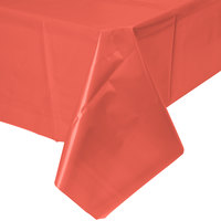 Creative Converting 723146B 54 inch x 108 inch Coral Orange Plastic Table Cover