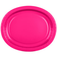 Creative Converting 433277 12 inch x 10 inch Hot Magenta Pink Oval Paper Platter - 96/Case