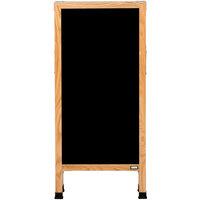 Aarco A-311SB 42 inch x 18 inch Solid Oak Wood Narrow A-Frame Sidewalk Board with Black Porcelain Marker Board