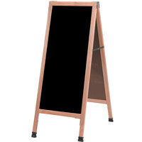 Aarco A-311SB 42 inch x 18 inch Solid Oak Wood Narrow A-Frame Sidewalk Board with Black Porcelain Marker Board
