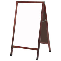 Aarco MA-5SW 42 inch x 24 inch Cherry Stained Solid Oak Wood A-Frame Sidewalk Board with White Porcelain Marker Board