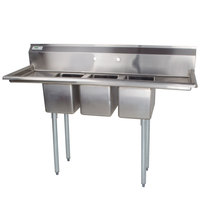 "Regency 58"" 16-Gauge Stainless Steel Three Compartment Commercial Sink with 2 Drainboards - 10"" x 14"" x 10"" Bowls"