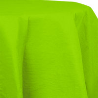 Creative Converting 923123 82 inch Fresh Lime Green OctyRound Tissue / Poly Table Cover