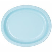 Creative Converting 433279 12 inch x 10 inch Pastel Blue Oval Paper Platter - 96/Case