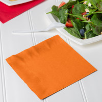 Creative Converting 139352135 Sunkissed Orange 2-Ply 1/4 Fold Luncheon Napkin   - 50/Pack