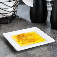 World Tableware SL-114 Slate 4 inch Ultra Bright White Wide Rim Square Micro Porcelain Plate - 36/Case