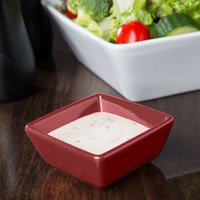 World Tableware SL-3-R Slate 2.75 oz. Red Square Porcelain Dipping Bowl   - 36/Case