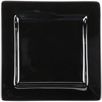 World Tableware SL-9-B Slate 9 inch Black Wide Rim Square Porcelain Plate - 12/Case