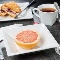 World Tableware SL-12 Slate 12 oz. Ultra Bright White Wide Rim Square Porcelain Grapefruit Bowl - 24/Case