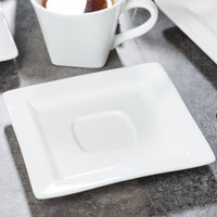 World Tableware SL-2 Slate 5 7/8 inch Ultra Bright White Wide Rim Square Porcelain Saucer with Well Ring - 36/Case