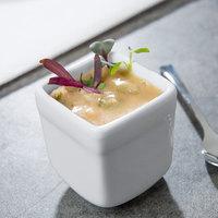 World Tableware SL-52 Slate 2.5 oz. Ultra Bright White Square Porcelain Sampler Cube - 36/Case