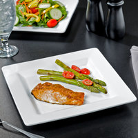 World Tableware SL-10S Slate Select 10 5/8 inch Ultra Bright White Embossed Wide Rim Square Porcelain Plate - 12/Case