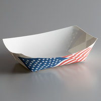 #300 3 lb. USA Flag Paper Food Tray - 500/Case