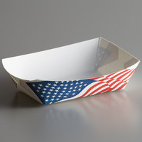 #200 2 lb. USA Flag Paper Food Tray - 1000/Case