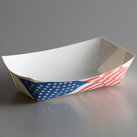 #100 1 lb. USA Flag Paper Food Tray - 1000/Case