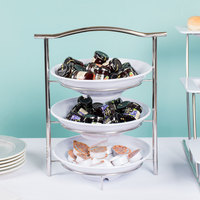 GET MTS031/ML73W-SET 3-Tier Display Stand Set with 2 Qt. White Round Ribbed Melamine Bowls