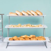 GET MTS034/HI2260W-SET 3-Tier Cascading Display Stand Set with 21 1/2 inch x 8 1/4 inch White Trays