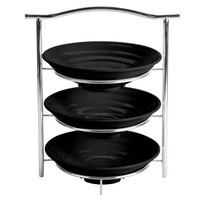 GET MTS031/ML73BK-SET 3-Tier Display Stand Set with 2 Qt. Black Round Ribbed Melamine Bowls