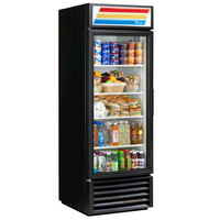 True GDM-23-HC-LD BK LH Black One Section Glass Door Refrigerated Merchandiser with LED Lighting and Left-Hinged Door