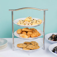 GET MTS031/2075W-SET 3-Tier Display Stand Set with 10 1/2 inch White Round Melamine Plates