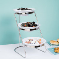 GET MTS029/ML72W-SET 3-Tier Cascading Display Stand Set with 2 Qt. White Round Melamine Bowls