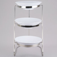 GET MTS029/ML73W-SET 3-Tier Cascading Display Stand Set with 2 Qt. White Round Ribbed Melamine Bowls