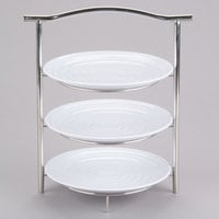 GET MTS031/ML82W-SET 3-Tier Display Stand Set with 10 1/4 inch White Round Ribbed Melamine Plates
