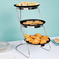 GET MTS029/ML82BK-SET 3-Tier Cascading Display Stand Set with 10 1/4 inch Black Round Ribbed Melamine Plates