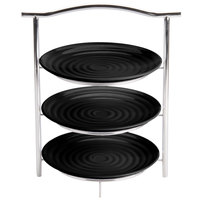 GET MTS031/ML82BK-SET 3-Tier Display Stand Set with 10 1/4 inch Black Round Ribbed Melamine Plates