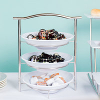GET MTS031/ML72W-SET 3-Tier Display Stand Set with 2 Qt. White Round Melamine Bowls